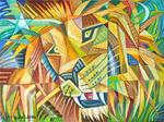Leo Lion Cubist Cubism