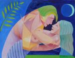 Cubist Cubism Couple Embrace Tropical