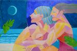 Cubist Cubism Couple Embrace Beach Music